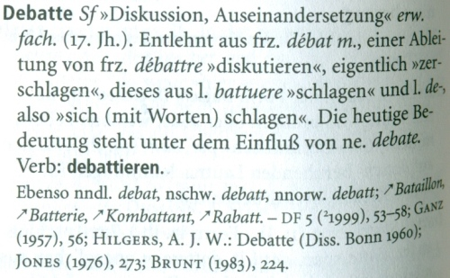 Kluge, F. 2002: Etymologisches Wörterbuch der deutschen Sprache. 24. Auf.l., Berlin, New York, S. 182